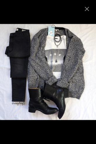 cardigan combat boots black black jeans grey cardigan moon moon shirt t-shirt top outfit sweater grey sweater shirt