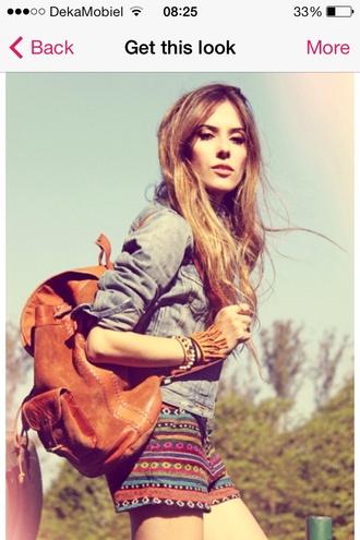 shorts tribal pattern rainbow hippie boho hipster