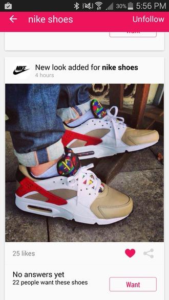 shoes nike white huaraches nike huaraches tribal pattern gold red green sneakers