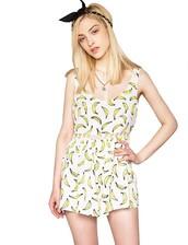 romper,cute,pixie market,pixiemarket,girl,banana print,bananas,fruits,cut-out,chiffon