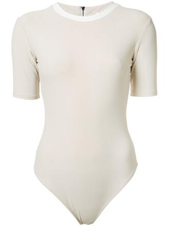 bodysuit women spandex leather nude underwear