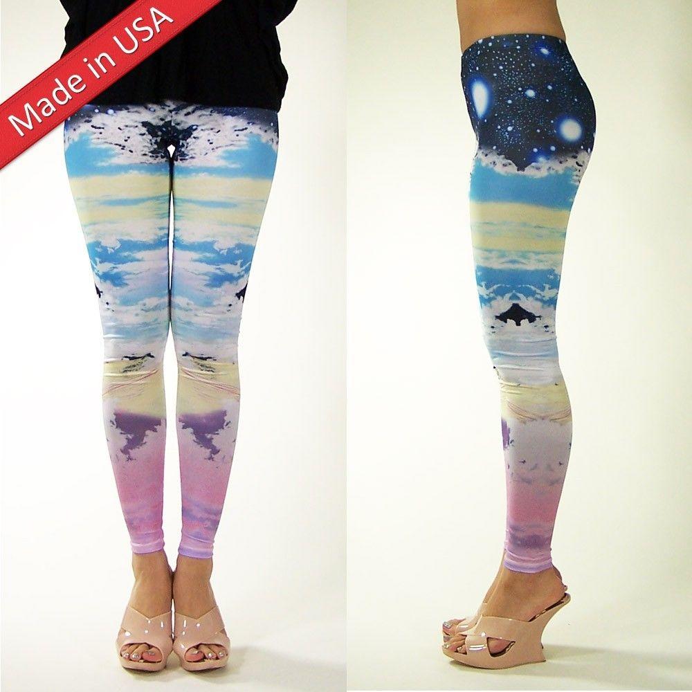 Galaxy pastel cloud sky cosmic leggings space stars hot tight pants made in us