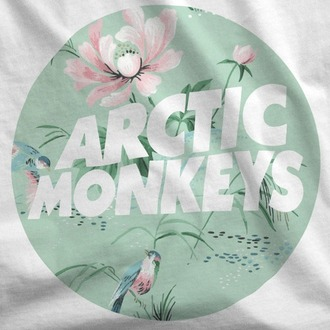 top t-shirt band t-shirt arctic monkeys floral birds birds shirt birds top white top white t-shirt quote on it sea foam green bands band merch arcticmonkeys
