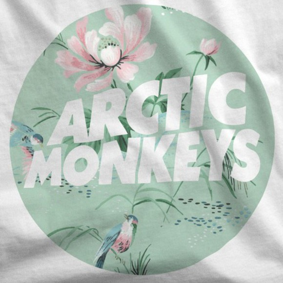 t-shirt white t-shirt top white top band t-shirt arctic monkeys floral birds birds shirt birds top tshirt with text sea foam green bands band merch arcticmonkeys