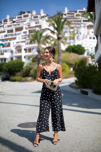 jumpsuit tumblr polka dots cropped jumpsuit sandals sandal heels high heel sandals bag shoes