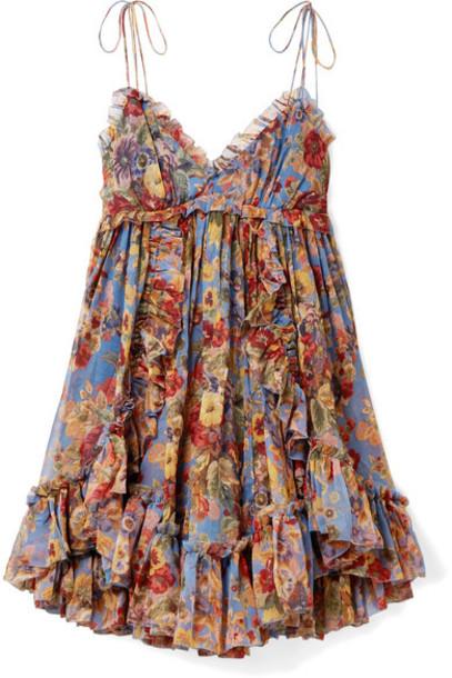 dress mini dress mini floral print blue silk