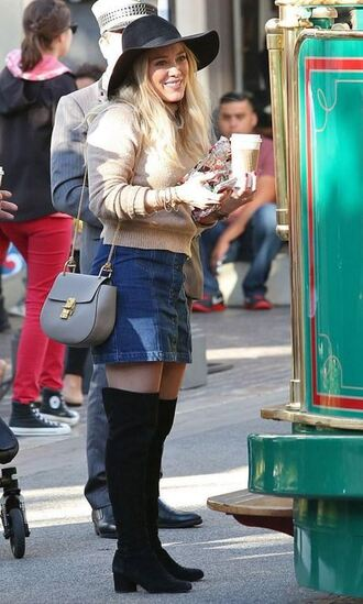 skirt denim denim skirt hilary duff boots sweater fall outfits hat over the knee boots