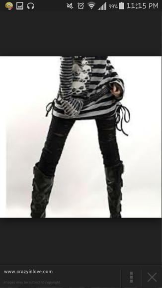 punk chain visual kei alternative stripes style jeans blaxk heel sandal grey