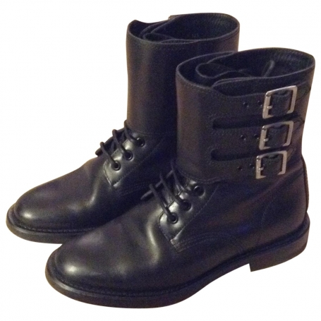 Boots SAINT LAURENT Black size 38.5 EU in Leather All seasons - 812919