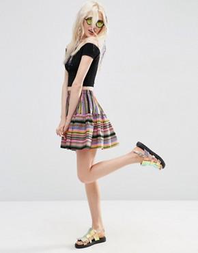 b3c17f64a ASOS Tiered Mini Skirt in Geo Stripe at asos.com