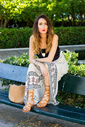 shoes and basics blogger gladiators boho maxi skirt