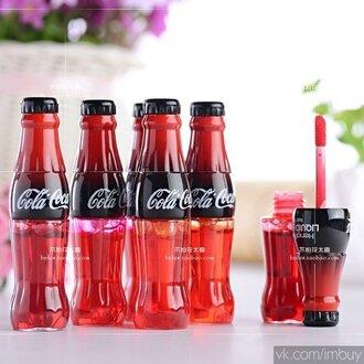 make-up coca cola lip gloss red cool amazing cherry cute coca cola lipgloss