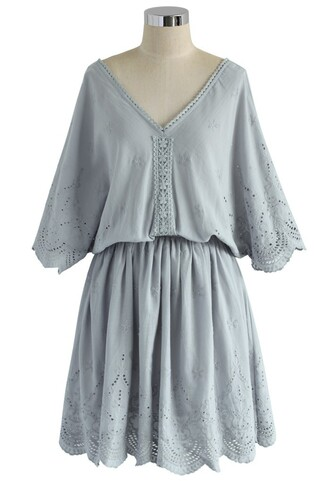 dress lavender embroidered
