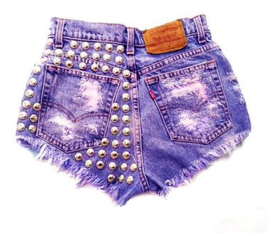 Wanderlust Purple Studded Shorts - Arad Denim