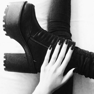 shoes black boots little black boots high heel boots leather