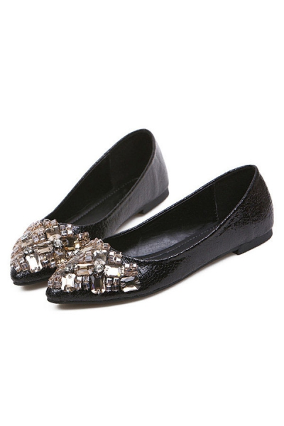 Bejeweled Pointed-toe Flats - OASAP.com