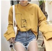 sweater,tumblr,yellow,sweatshirt,jumper,printed sweater,smoke,yellow shirt,cigarette shirt,girl,yellow girl shirt,oversized yellow shirt,long sleeve yellow shirt