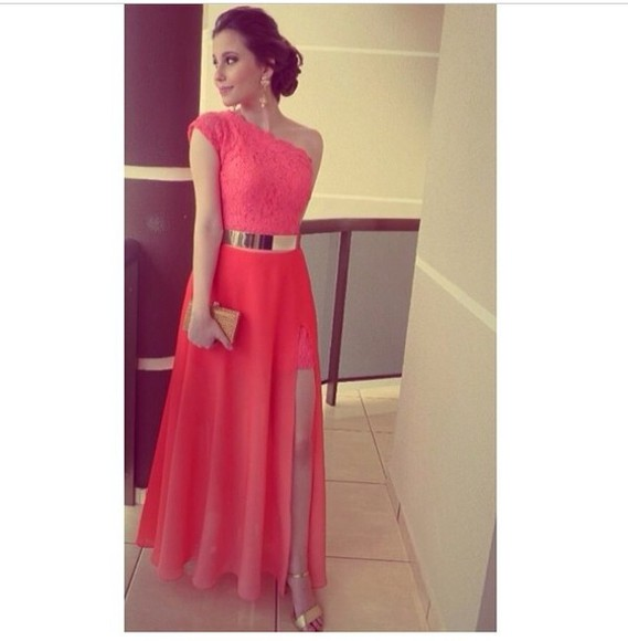 dress slit skirt coral dress gold belt metal gold waist belt belt