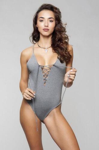 swimwear cheeky grey monokini one piece reversible bikiniluxe