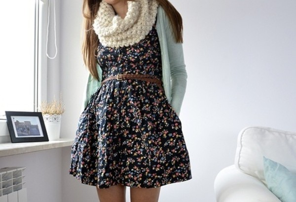 dress floral sweater girly big scarf mint cardigan leather belt jacket scarf floraldress chambray shirt chambray cute fall outfits fall outfits outfit chic flowers romantic floral dress flowers