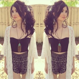 top bustier black black bustier crop tops kimono tribal shorts shorts