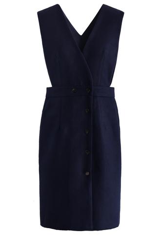 dress elegant demeanor pinafore dress in navy chicwish navy