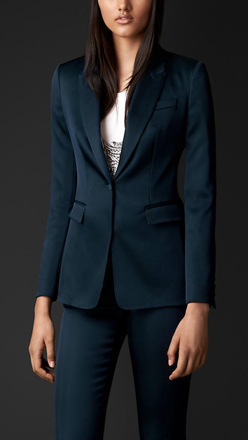 Stretch-Silk Tailored Jacket