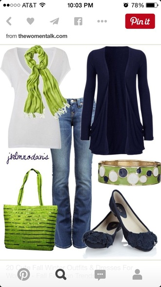 bag jewels cardigan jeans scarf shoes