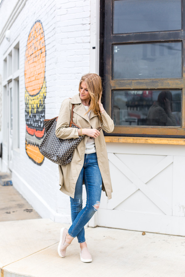 a piece of toast blogger sweater jeans coat shoes bag sunglasses tote bag trench coat beige coat slip on shoes spring outfits
