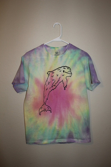 tie dye purple shirt pink dolphin pastel green yellow