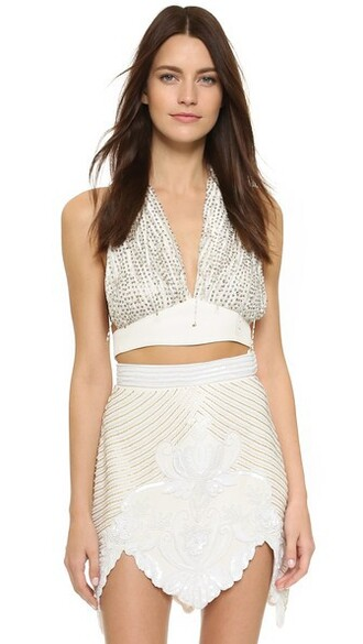 top halter top beaded gold white