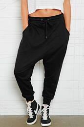 black sweatpants,sweatpants,sportswear,nike sneakers,high top sneakers,white crop tops,harem pants