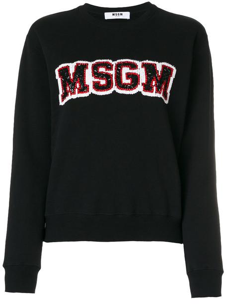 MSGM - logo jumper - women - Cotton - S, Black, Cotton