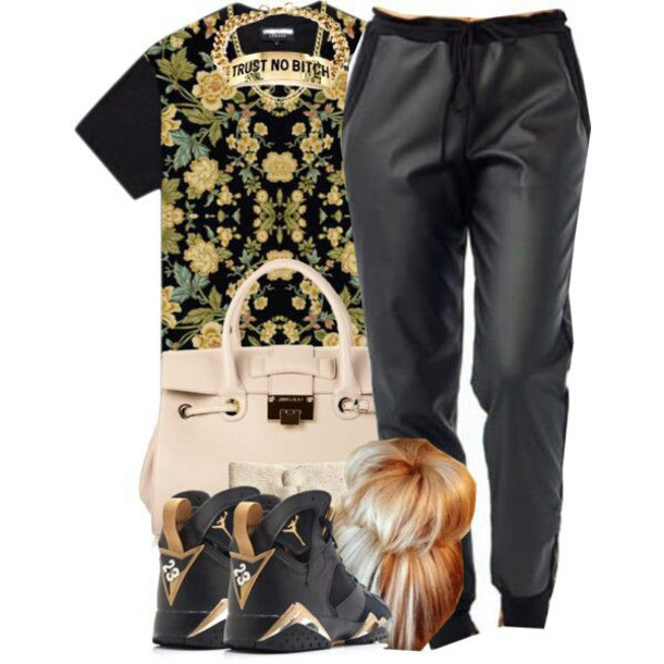 shirt flowers t-shirt faux look trust no bitch chain shoes shorts