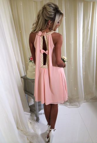 dress pink boutique pinkb pale pink pink and gold swing dress bow detail
