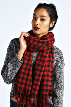 Jade Plaid Woven Tassle Trim Scarf at boohoo.com