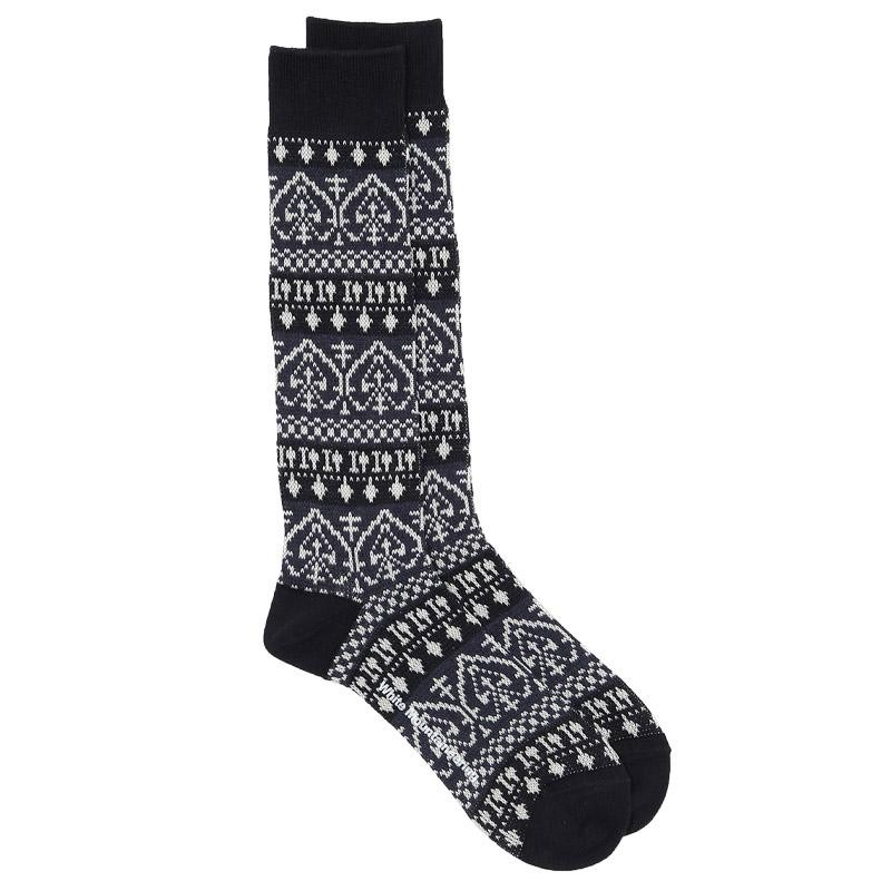 White mountaineering spade pattern middle socks