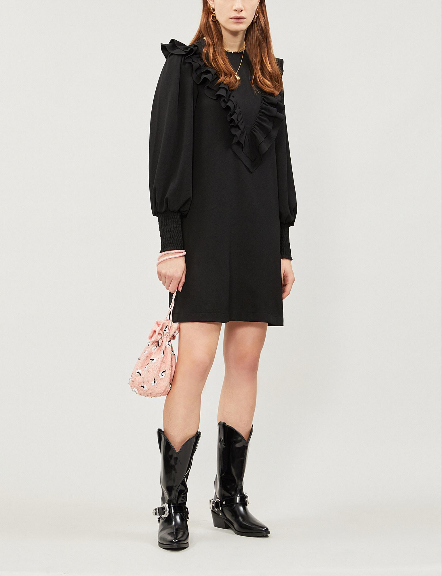 Ganni - Black Ruffled Stretch-crepe Mini Dress - Lyst