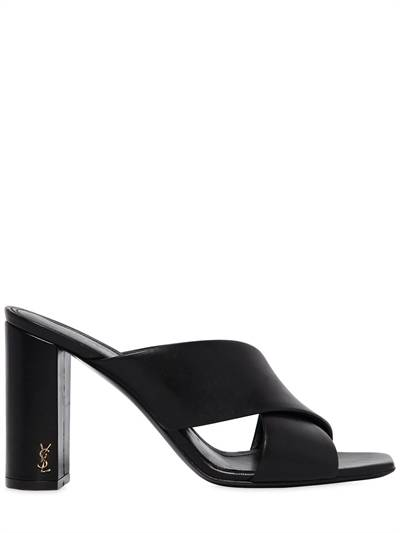 SAINT LAURENT, 95mm lou lou leather sandals, Black, Luisaviaroma