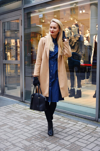 callmemaddie blogger coat dress bag shoes jewels fall outfits handbag blue dress ankle boots gloves nude coat
