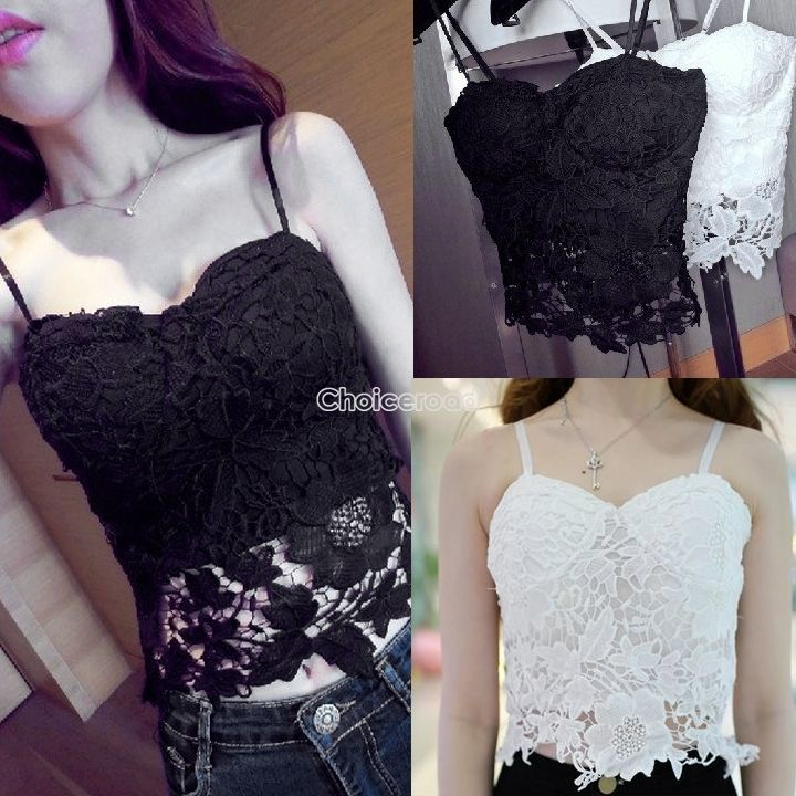 New Floral Lace Crop Top Bustier Corset Bralet Bra Strapless Bodycon Cami Tank | eBay