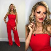 jumpsuit,strictly,tess daly,red jumpsuit
