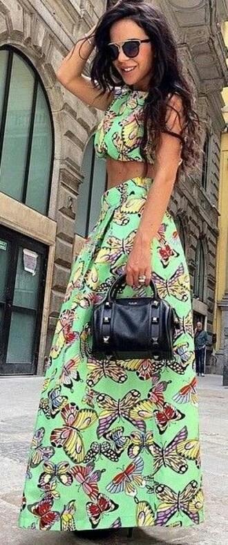 dress green dress two piece dress set butterfly maxi dress