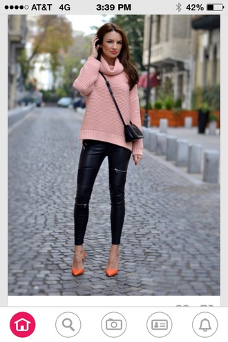 zipper leather leggings