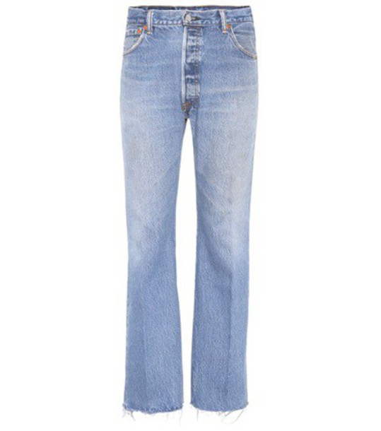 Re/Done Lea high-waisted cropped jeans in blue