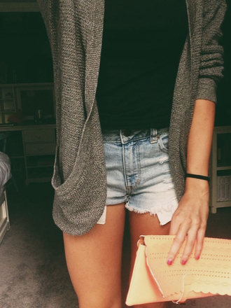 cardigan girl summer grey pockets shorts