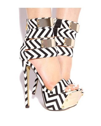 shoes high heels strappy heels peep toe heels open heels platform platform high heels black and white black and white high heels black and white striped party shoes