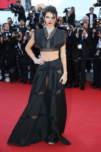 mesh sheer shoes sandals skirt gown top maxi skirt kendall jenner cannes red carpet crop tops all black everything