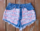 shorts,flag,union jack,british,demin,jeans,High waisted shorts