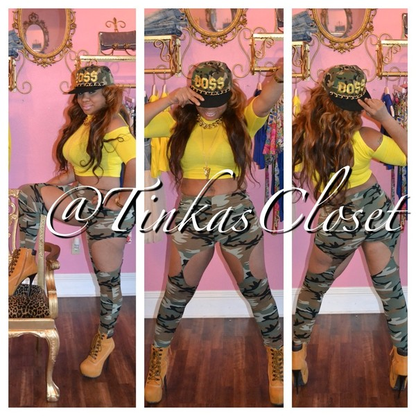 pants camouflage cute trill boss gold chain gold chain yellow tinkas closet sexy badass leggings suspenders timberlands high heels boots dope shoes